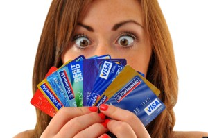 Credit cards, woman holding lots of credit and debit cards. Image shot 09/2010. Exact date unknown.